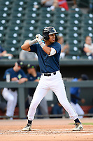Designated hitter Mark Vientos (13) of the Columbia Fireflies bats in a game against the Rome Braves on Tuesday, June 4, 2019, at Segra Park in Columbia, South Carolina. Columbia won, 3-2. (Tom Priddy/Four Seam Images)