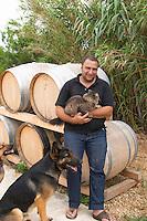 Pierre Quinonero Domaine de la Garance. Pezenas region. Languedoc. Owner winemaker. France. Europe. The Dog. The cat.