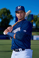 AZL Brewers Blue Luis Silva (3) poses for a photo before an Arizona League game against the AZL Athletics Gold on July 2, 2019 at American Family Fields of Phoenix in Phoenix, Arizona. AZL Athletics Gold defeated the AZL Brewers Blue 11-8. (Zachary Lucy/Four Seam Images)