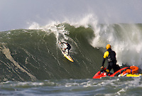 Dave Wassel dropping in during the 2009/2010 Sony Ericsson/Barracuda Networks, Mavericks Surf Contest on Saturday February 13, 2010...