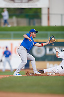 South Bend Cubs shortstop Rafael Narea (2) receives a throw from the catcher during the first game of a doubleheader against the Lake County Captains on May 16, 2018 at Classic Park in Eastlake, Ohio.  South Bend defeated Lake County 6-4 in twelve innings.  (Mike Janes/Four Seam Images)