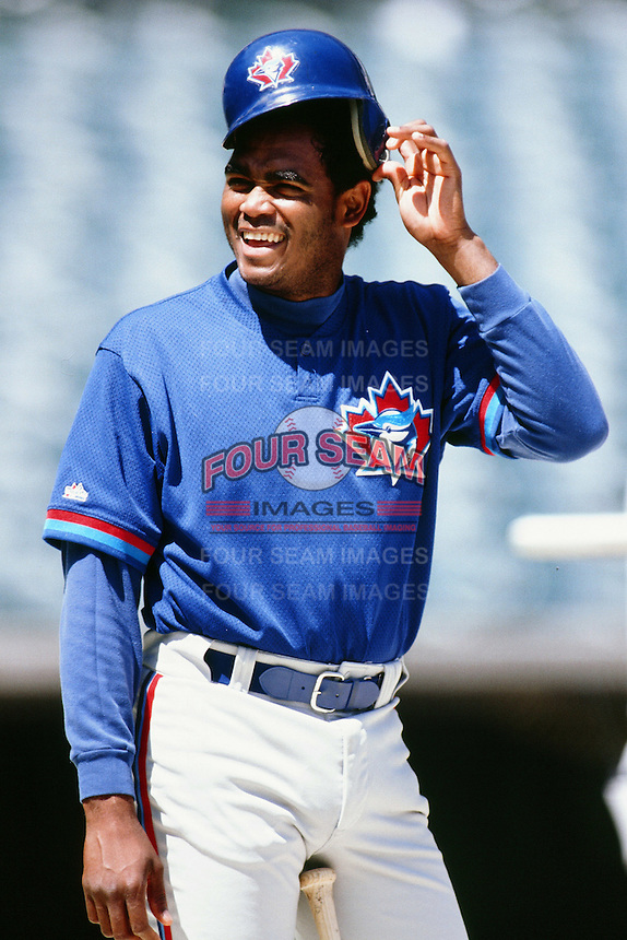 Tony Bautista of the Toronto Blue Jays during a game against the Anaheim Angels at Angel Stadium circa 1999 in Anaheim, California. (Larry Goren/Four Seam Images)