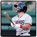 First baseman Blaine Crim of the Hickory Crawdads has been named High-A East Player of the Week for July 12-18. He's pictured in a game against the Greenville Drive on Wednesday, June 16, 2021, at Fluor Field at the West End in Greenville, South Carolina. (Tom Priddy/Four Seam Images) #milb