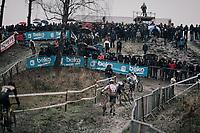 running up the very muddy Balenberg<br /> <br /> Elite Men's Race<br /> GP Sven Nys / Belgium 2018