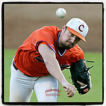 Starting pitcher Jackson Lindley (25) of the Clemson Tigers delivers a pitch in Game 1 of the Orange-Purple intrasquad scrimmage series on Friday, November 20, 2020, at Doug Kingsmore Stadium in Clemson, South Carolina. Orange won, 9-2. (Tom Priddy/Four Seam Images)