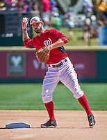 16 March 2014: Washington Nationals infielder Jeff Kobernus in action during a Spring Training Game against the Detroit Tigers at Space Coast Stadium in Viera, Florida. The Tigers edged out the Nationals 2-1 in Grapefruit League play. Mandatory Credit: Ed Wolfstein Photo *** RAW (NEF) Image File Available ***