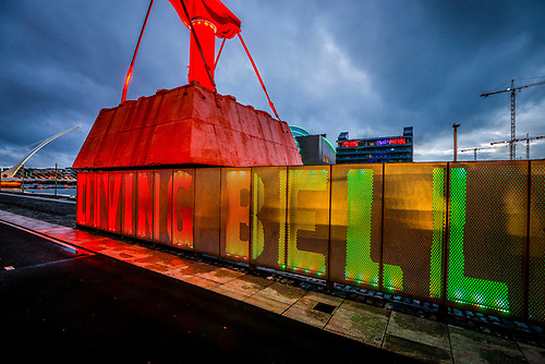 The Diving Bell on Sir John Rogerson's Quay in the colours of the rainbow for Dublin Pride Festival