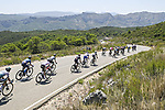 The peloton descend during Stage 7 of La Vuelta d'Espana 2021, running 152km from Gandia to Balcon de Alicante, Spain. 20th August 2021.     <br /> Picture: Unipublic/Charly Lopez | Cyclefile<br /> <br /> All photos usage must carry mandatory copyright credit (© Cyclefile | Charly Lopez/Unipublic)