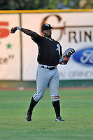 Bristol White Sox center fielder Courtney Hawkins #34 warms up in the outfield between innings during a game against the Elizabethton Twins at Joe O'Brien Field on June 25, 2012 in Elizabethton, Tennessee. The Twins defeated the White Sox 9-1. (Tony Farlow/Four Seam Images).