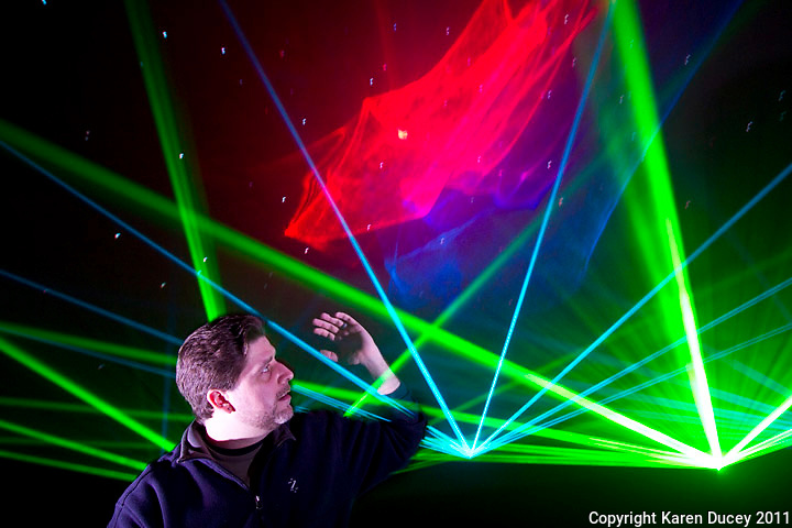 Laser light artist, John Borcherding, poses for a portrait at the Pacific Science Center on January 27, 2011. (photo credit Karen Ducey)