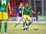 St Johnstone v Preston North End…13.07.21  McDiarmid Park<br />Ched Evans holds off Reece Devine<br />Picture by Graeme Hart.<br />Copyright Perthshire Picture Agency<br />Tel: 01738 623350  Mobile: 07990 594431
