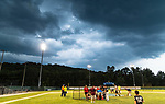 WATERBURY, CT 072427JS10  Officials called off the second round of the home run derby when storm clouts and lightning rollin into the area during Mickey Mantle World Series kick-off Tuesday at Municipal Stadium in Waterbury. <br /> Jim Shannon Republican American