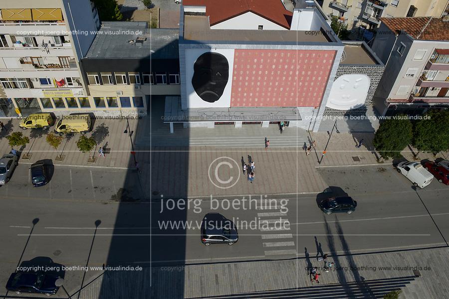 ALBANIA, Korça , theatre with art decorated facade with faces in different moods / ALBANIEN, Korca, Theater mit kuenstlerisch dekorierter Fassade