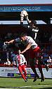Jon McLaughlan of Bradford collects under pressure from Jon Ashton of Stevenage<br />  - Stevenage v Bradford City - Sky Bet League 1 - Lamex Stadium, Stevenage - 31st August, 2013<br />  © Kevin Coleman 2013