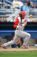 Williamsport Crosscutters second baseman Drew Stankiewicz (8) at bat during a game against the Batavia Muckdogs on July 27, 2014 at Dwyer Stadium in Batavia, New York.  Batavia defeated Williamsport 6-5.  (Mike Janes/Four Seam Images)