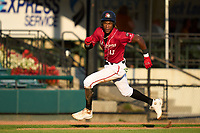 Altoona Curve Oneil Cruz (13) rounds third to score a run during a game against the Erie Seawolves on September 7, 2021 at Peoples Natural Gas Field in Altoona, Pennsylvania.  (Mike Janes/Four Seam Images)