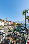 Switzerland, Ticino, Ascona at Lago Maggiore: seaside restaurant 'Sea Lounge' and small boat harbour | Schweiz, Tessin, Ascona am Lago Maggiore: die 'Sea Lounge' am kleinen Bootshafen