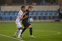 SAN JOSE, CA - SEPTEMBER 13: Julian Araujo #22 of the L.A. Galaxy and Jackson Yueill #14 of the San Jose Earthquakes battle for the ball during a game between Los Angeles Galaxy and San Jose Earthquakes at Earthquakes Stadium on September 13, 2020 in San Jose, California.