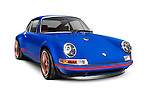 Blue 1991 Porsche 911 classic retro sports car isolated on white background with clippiing path Image © MaximImages, License at https://www.maximimages.com