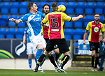 St Johnstone v Partick Thistle…13.05.17     SPFL    McDiarmid Par k<br />Liam Craig gets between Adam Barton and Danny Devine to get a shot at goal<br />Picture by Graeme Hart.<br />Copyright Perthshire Picture Agency<br />Tel: 01738 623350  Mobile: 07990 594431