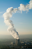 Smoke emitting from cooling towers of Tricastin Nuclear Power Plant, Rhone River Valley, Drome, France.