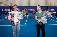 Amstelveen, Netherlands, 20  December, 2020, National Tennis Center, NTC, NK Indoor, National  Indoor Tennis Championships, Women's  Single Winner  :  	<br /> Lesley Pattinama-Kerkhove (NED) (L) and runner up Richel Hogenkamp (NED) with the trophy<br /> Photo: Henk Koster/tennisimages.com