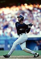 Devon White of the Arizona Diamondbacks participates in a Major League Baseball game at Dodger Stadium during the 1998 season in Los Angeles, California. (Larry Goren/Four Seam Images)