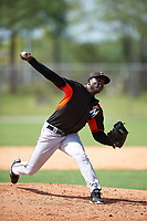 Miami Marlins Juancito Martinez (48) during a minor league Spring Training intrasquad game on March 31, 2016 at Roger Dean Sports Complex in Jupiter, Florida.  (Mike Janes/Four Seam Images)