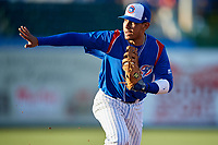 South Bend Cubs first baseman Jhonny Pereda (13) during a game against the Clinton LumberKings on May 5, 2017 at Four Winds Field in South Bend, Indiana.  South Bend defeated Clinton 7-6 in nineteen innings.  (Mike Janes/Four Seam Images)