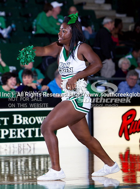 North Texas Mean Green cheerleaders in action during the game between the Jackson State Tigers and the University of North Texas Mean Green at the North Texas Coliseum,the Super Pit, in Denton, Texas. UNT defeated Jackson State 69 to 55.