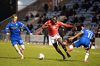Toumani Diagouraga of Morecambe steps inside the challenge of Callum Harriott, Colchester United during Colchester United vs Morecambe, Sky Bet EFL League 2 Football at the JobServe Community Stadium on 19th December 2020