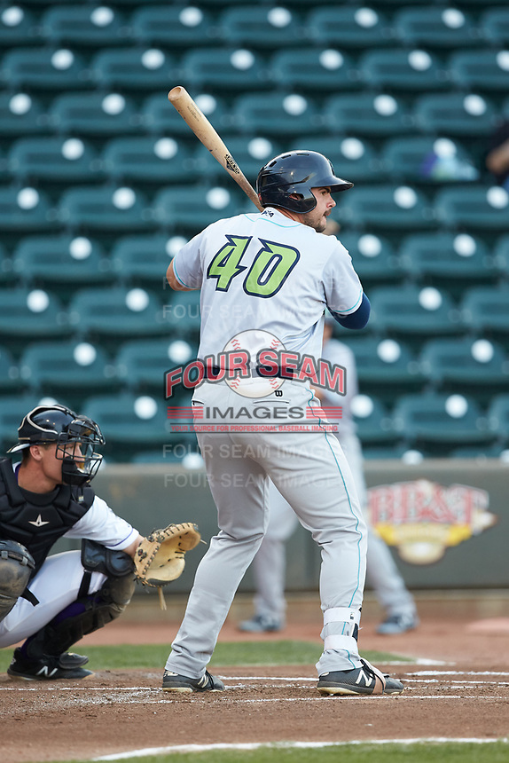 Anthony Miller (40) of the Lynchburg Hillcats at bat against the Winston-Salem Dash at BB&T Ballpark on May 3, 2018 in Winston-Salem, North Carolina. The Dash defeated the Hillcats 5-3. (Brian Westerholt/Four Seam Images)