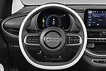 Car pictures of steering wheel view of a 2021 Fiat 500C La-Prima 2 Door Convertible Steering Wheel