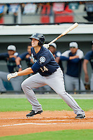 Jeffrey Zimmerman (34) of the Pulaski Mariners follows through on his swing against the Burlington Royals at Burlington Athletic Park on July 20, 2013 in Burlington, North Carolina.  The Royals defeated the Mariners 6-5.  (Brian Westerholt/Four Seam Images)