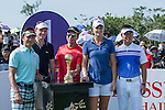 (L-R) Xing Aowei, Lee Sharpe, Tenniel Chu, Anna Nordqvist, Man Wenjun at the 1st hole during the World Celebrity Pro-Am 2016 Mission Hills China Golf Tournament on 22 October 2016, in Haikou, China. Photo by Marcio Machado / Power Sport Images