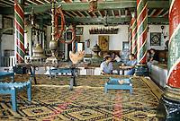 Tunisia, Sidi Bou Said.  Cafe des Nattes, interior, a Sidi Bou Said Coffee House.