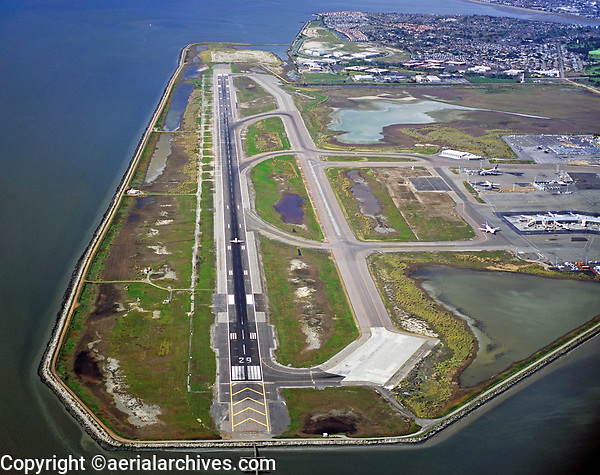 aerial photograph of runway 29 at the Oakland International Airport (OAK), Oakland, California