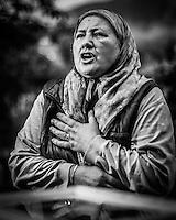 """07.06.2013, Potocari ( Srebrenica ) Bosnia Herzegovina<br /> Memorial Center. <br /> Fazila Efendic, e' una donna sopravvissuta al massacro di Srebrenica dove furono uccisi tra gli altri il figlio e il marito. Gestisce un chiosco di fronte al memorial center. E' una dei membri dell'associazione """"Madri di Sebrenica"""".<br /> L'esercito Serbo, comandato da Ratko Mladic, nel 1995 ha massacrato a Srebrenica circa 8.000 tra uomini e ragazzi Musulmani, la piu' grande atrocita' commessa in Europa dalla seconda guerra mondiale. <br /> Foto Insidefoto / EXPA/ Juergen Feichter"""