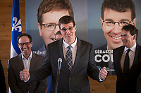 PQ candidate for the riding of Chauveau Sebastien Couture gestures as he talk during the presentation of parti Quebecois candidates for the upcoming byelection Tuesday May 5, 2015.<br /> <br /> PHOTO :  Francis Vachon - Agence Quebec Presse