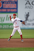 Auburn Doubledays third baseman Andres Martinez (5) throws to first base during a game against the Connecticut Tigers on August 8, 2017 at Falcon Park in Auburn, New York.  Auburn defeated Connecticut 7-4.  (Mike Janes/Four Seam Images)