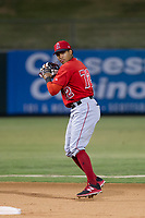 AZL Angels second baseman Gleyvin Pineda (72) on defense against the AZL Athletics on July 22, 2017 at Tempe Diablo Stadium in Tempe, Arizona. AZL Athletics defeated the AZL Angels 5-4. (Zachary Lucy/Four Seam Images)