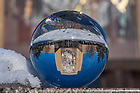 December 10, 2017; Word of Life mural refracted in a crystal ball. 8 of 12 (Photo by Matt Cashore/University of Notre Dame)