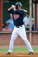 Elizabethton Twins first baseman Rory Rhodes #33 awaits a pitch during a game against the Greenville Astros at Joe O'Brien Field on August 21, 2012 in Elizabethton, Tennessee. The Twins  defeated the Astros 7-5 (Tony Farlow/Four Seam Images).