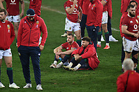 Finn Russell and Ali Price (R) - British & Irish Lions sit dejected at the final whistle after the Springboks beat the Lions 19-16 in the third test to win the series 2-1.<br /> British & Irish Lions v South Africa,  3rd Test, Cape Town Stadium, Cape Town, South Africa,  Saturday 7th August 2021. <br /> Please credit: FOTOSPORT/DAVID GIBSON