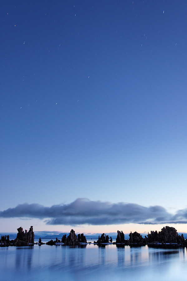 Mono Lake tufta rock formations under starry sky, South Tufta, eastern Sierras, Mono Basin National Forest Scenic Area, near Lee Vining, California, USA