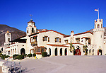 Scotty's Castle<br />Death Valley California<br />Despite its frenetic skyline, a close look at Scotty's Castle in Death Valley, California, quickly reveals the basic simplicity of its layout.  It consists of a pair of long rectangular buildings separated by a courtyard, to which a fantastical array of arcades, bays, chimneys, and turrets are somewhat randomly appended.  While the Castle's plan may be simplistic, the quality of its finishes and furnishings is nothing short of spectacular--a feat owed largely to Hungarian-born architect Martin de Debovay, who supervised the execution of its wood carving, ironwork, and tile.