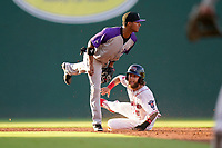 Second baseman Lenyn Sosa (25) of the Winston-Salem Dash waits for the call as Cole Brannen of the Greenville Drive slides into second on Wednesday, June 30, 2021, at Fluor Field at the West End in Greenville, South Carolina. (Tom Priddy/Four Seam Images)