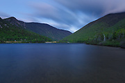 Franconia Notch State Park - Echo Lake at night during the spring months in the White Mountains, New Hampshire.