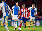Angel Correa (C) of Atletico de Madrid battles for the ball with Jose Manuel Garcia Naranjo, J Naranjo (L) and Gerard Gumbau Garriga of CD Leganes  during the La Liga 2017-18 match between Atletico de Madrid and CD Leganes at Wanda Metropolitano on February 28 2018 in Madrid, Spain. Photo by Diego Souto / Power Sport Images