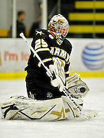 2 January 2011: Army Black Knight goaltender Anthony Cadieux, a Freshman from New Hartford, NY, warms up prior to facing the Ohio State University Buckeyes at Gutterson Fieldhouse in Burlington, Vermont. The Buckeyes defeated the Black Knights 5-3 to win the 2010-2011 Catamount Cup. Mandatory Credit: Ed Wolfstein Photo